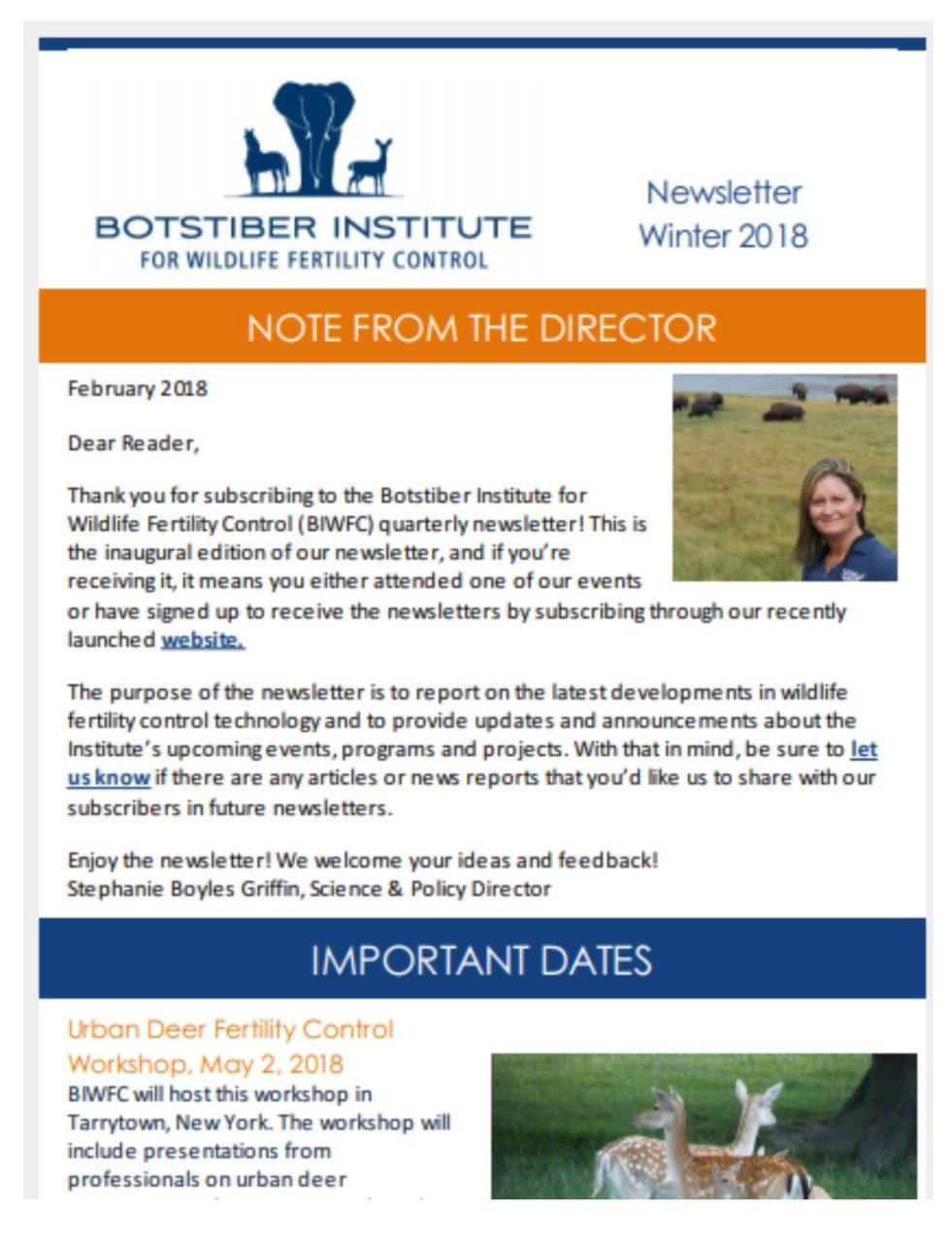 biwfc newsletter botstiber institute for wildlife fertility control